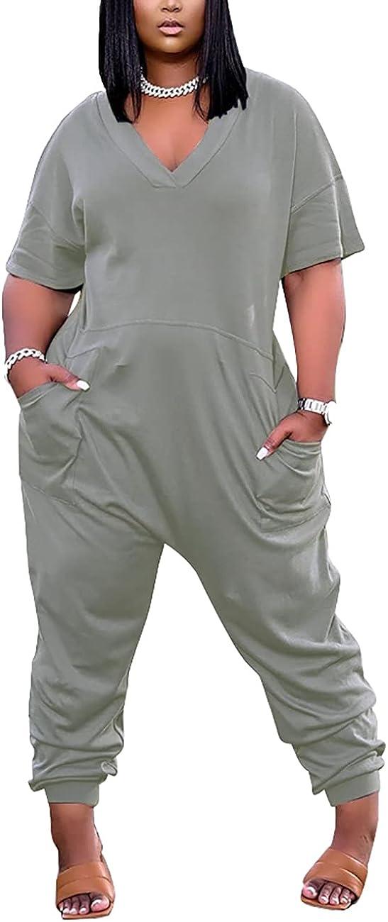 Aisbei Women Short San Francisco Mall Sleeve V Neck Special sale item Long Pants One Romper Jumpsuit