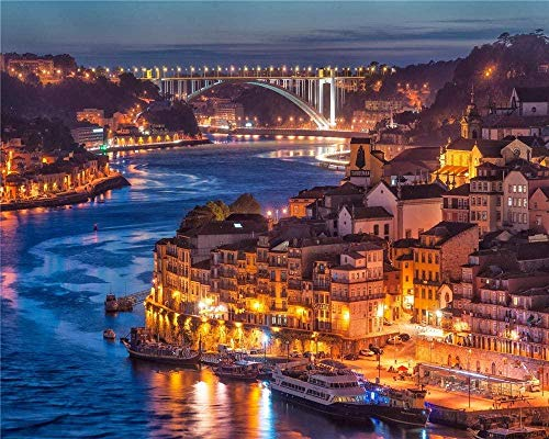 RHUARompecabezas 1000 Piezas para Adultos Anochecer en Porto City River Bridge Arte Moderno Decoración del hogar Juguetes de Madera Juegos Divertidos Gran Regalo Educativo para niños