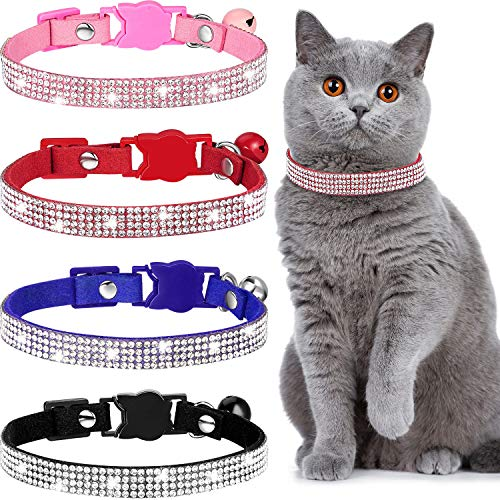 Weewooday 4 Pieces Rhinestones Cat Collars Breakaway Cat Collar with Bell Bling Pet Collars with Soft Velvet, 4 Colors (XS, Pink, Red, Black, Blue)