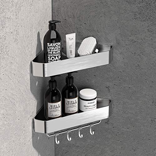 LIVIKEY Duschregal ohne Bohren Badezimmer Für Bad und Küche Raum Aluminium Material Badregal,2 Stück Silber