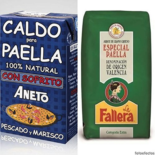 La Fallera: Paellareis D.O. Valencia für Paella - 1 kg + Brühe für Paella mit Fisch und Meeresfrüchten\', 1000 ml