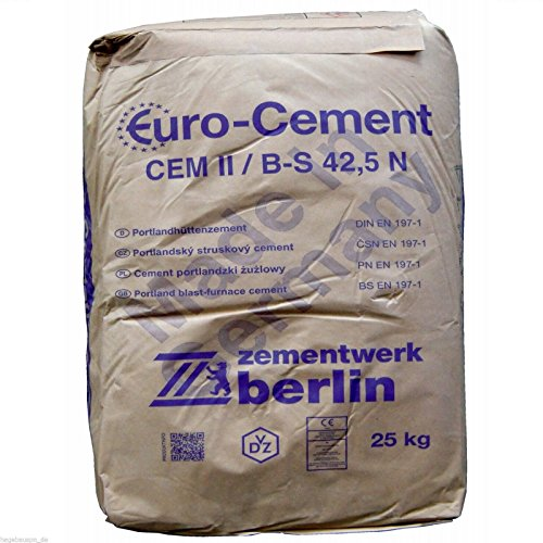 25Kg Zement CEMII/B-S 42,5 N zum Betonieren Mauern Putzen und Herstellung von Mörtel und Beton