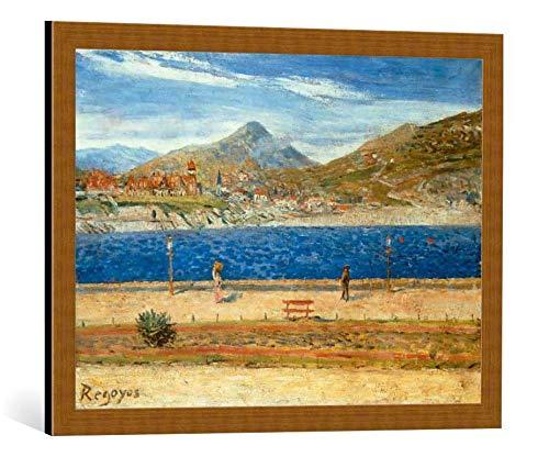 Kunst für Alle Cuadro con Marco: Dario Regoyos y Valdes Playa de San Sebastian - Impresión artística Decorativa con Marco, 70x50 cm, Cobre Cepillado