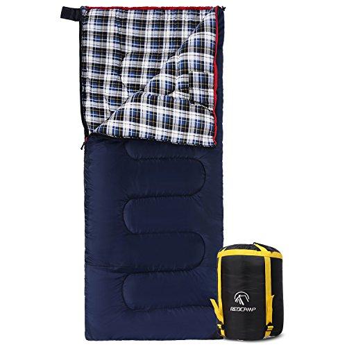 REDCAMP Deckenschlafsack Baumwolle für Erwachsene, Leicht Flanell Schlafsack für Outdoor Camping, Angeln, 3-4 Jahreszeiten, für Winter, Umschlag mit 3lbs Füllung