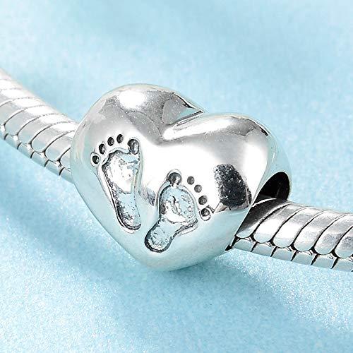XSZPKL Huella del bebé Plata de Ley 925 Cuentas Beads Charm Fit Pulsera Original brazaletes Joyería