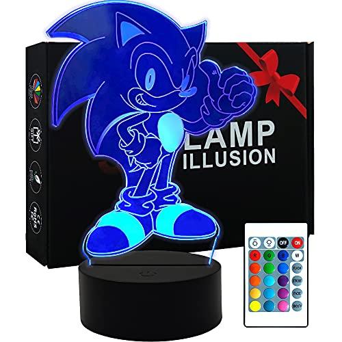 3D Illusion Sonic Hedgehog Night Light, lámpara de mesa de anime con control remoto para decoración de dormitorio infantil, iluminación creativa para niños y fanáticos