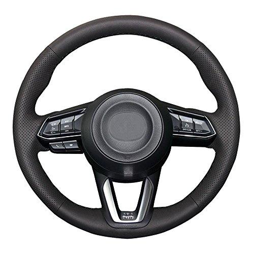 Eiseng DIY Black Genuine Leather Steering Wheel Cover Custom Fit for 2017 2018 Mazda 3/2017-2019 Mazda CX-5 Mazda 6/2016-2019 CX-9/2019 CX-3 15 inch Interior Accessories (Black Thread)