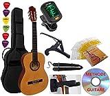 Pack Guitare Classique 4/4 (Adulte) + 6 Accessoires + Cour Vidéo et DVD (Naturel)