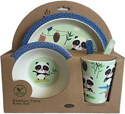 Vajilla Bambu Infantil Vajilla Fibra de Bambú Niños y Bebés 5 Piezas - Material Ecologico, Reciclable - Apto para Lavavajillas - Pack Eco, Bio, sin BPA (Bamboo) - Con Plato, Tazon, Vaso y Cubiertos