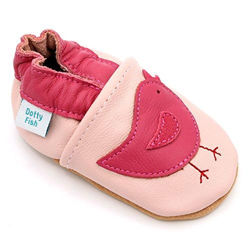 Dotty Fish Chaussures Cuir Souple bébé et Bambin. Filles. Oiseaux Roses. 18-24 Mois (22-23 EU)