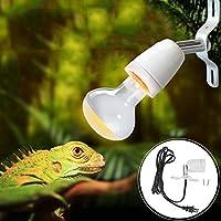 爬虫類ライト 亀ライト 加熱ランプホルダー 回転可能 爬虫類 ライト スイッチ付きケーブル E27 300W 電球なし(USプラグ)