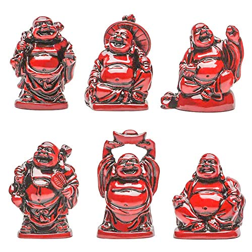 Talent Feng Shui 2in Red Resin Laughing Buddha Statue Figurines Set of 6