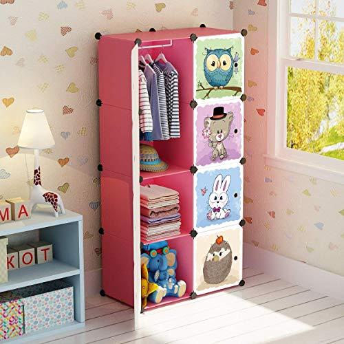 BRIAN & DANY Erweiterbares Kinderregal Kinder Kleiderschrank Stufenregal Bücherregal mit Türen, tiefere Fächer als normal (45 cm vs. 35 cm) für mehr Platz, 75 x 47 x 147 cm Rosa