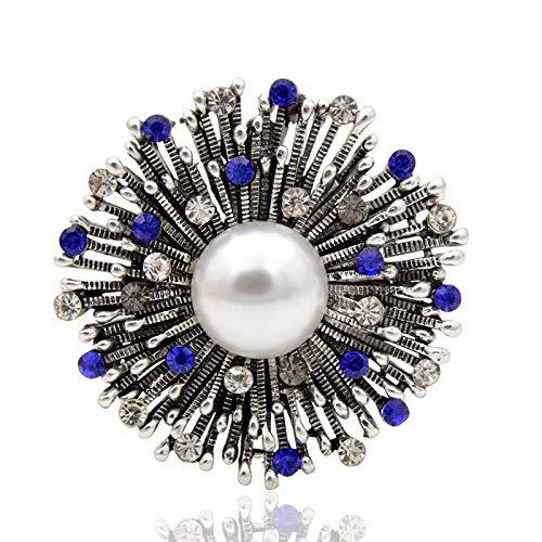 PicZhiwenture Broche Flor de Diamantes de imitación para Mujer Color Azul Vintage...
