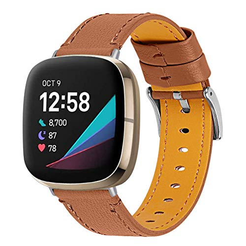 AISPORTS Compatible con Fitbit Sense/Fitbit Versa 3 Correa de cuero para mujeres y hombres, suave y transpirable pulsera deportiva hebilla de metal correa de repuesto para Fitbit Sense/Fitbit Versa 3