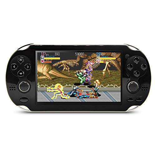 CZT 4.3 inch 8GB Double Joystick Handheld Game Console Build in 2000 Games Video Game Console Support Arcade/CPS/FC/SFC/GB/GBC/GBA/SMC/SMD/SEGA Games MP4 Player (Black)