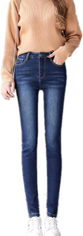 SmileYZ Women's Winter High Waist Skinny Thermal Fleece Jeans 5 Pocket