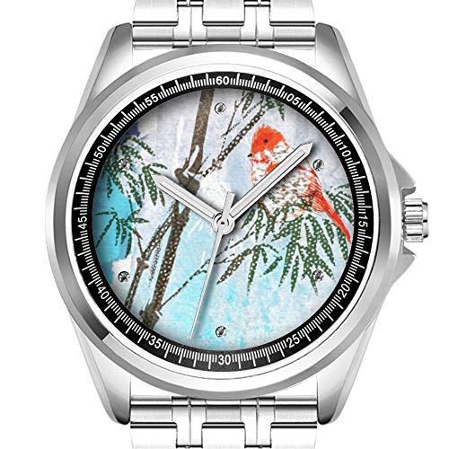 Personalisierte Herrenuhr Mode wasserdicht Uhr Armbanduhr Diamant 738. Kleiner Vogel in der Bambusbaum-Edelstahl-Uhr