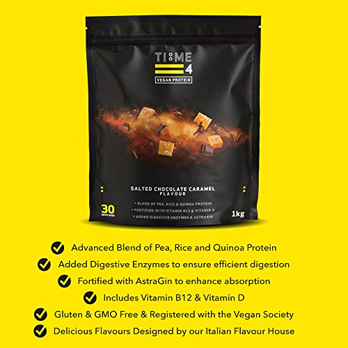 Time 4 Vegan Protein Powder 1kg – 30 Servings – Pea Protein Isolate, Rice Protein, Quinoa Protein with Added Digestive Enzymes, AstraGin, Vitamin B12 & Vitamin D3 (Salted Chocolate Caramel)
