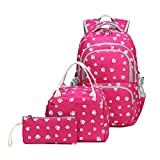 Fanci 3Pcs Lovely Dog Paw Prints Junior Schoolbag Bookbag for Teens Girls Primary