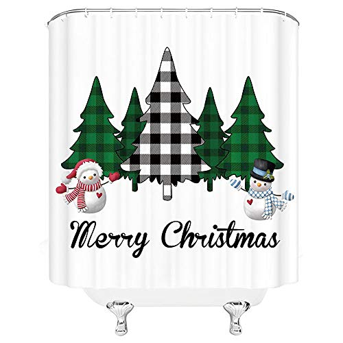 Xnichohe Meery Christmas Shower Curtain Buffalo Check Black White Green Tree Farmhouse Snowman Decor Polyester Fabric Crutain with 12pcs Hooks70 x 70 Inch Bathroom Accessories Curtains Green White