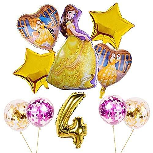 NC67 10 Uds Globos Globos de cumpleaños Belle Princess Girl Decoraciones para Fiestas Baby Shower Helio La Bella y la Bestia Globo