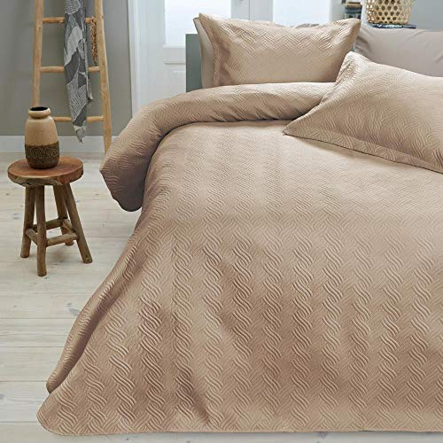 SLEEP TIME Tagesdecke Bettüberwurf Wave, 260cm x 250cm, Mit 2 Kissenbezüge 60cm x 70cm, Braun