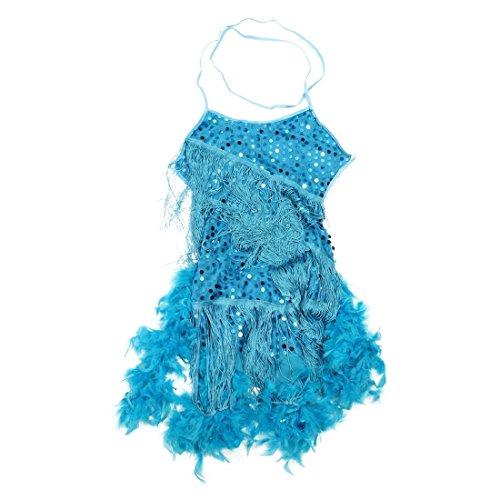 SODIAL(R) Nuevos Vestidos De Danza Latina con Lentejuela Pluma para Ninos Traje De Baile De Salon De La Competencia Vestido para Las Ninas Azul, XXL