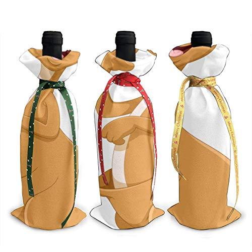 Wine Bag Travel Schöne Känguru Aktiv springen 3 Stück Chirtmas Weinflasche Geschenkhülle