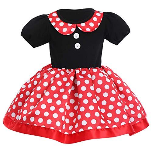 IMEKIS Disfraz de princesa Minnie con lunares para nias, disfraz de moo, tut para cumpleaos, boda, desfile, fiesta, Navidad, carnaval, festivo, color rojo