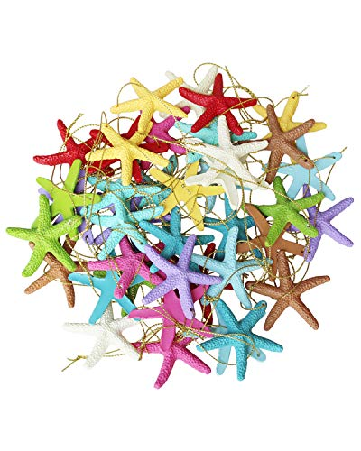 LJY 40 Pieces 6cm Resin Pencil Finger Starfish with Rope for Christmas Tree Hanging Ornaments Beach Theme Wedding Home Decor & DIY Craft Project, 10 Colors