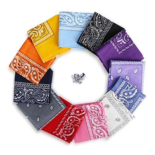 YISSVIC 12pcs Pañuelos Bandanas para Cabeza y Cuello Multicolor Múltiple de...