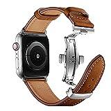 ANYE Compatibile con Apple Watch Cinturino,Cinturino in Vera Pelle Apple Watch Series 6 44mm,Cinturino Orologio Apple Watch 42mm Cinturino di Ricambio Cinturino Bracciale iWatch Series 6/5/4/3/2/1