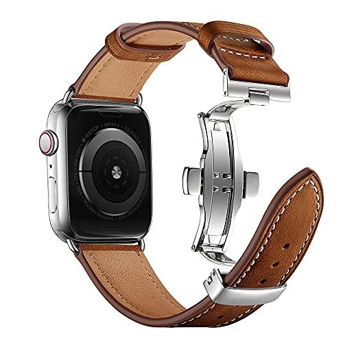 ANYE para Correa de Cuero Apple Watch 42mm,Correas Apple Watch SE 44mm Pulsera de Reloj Cuero Apple Watch Series 6 Reemplazo para iWatch Serie 6 Serie 5 Serie 4 (44mm) / Serie 3 2 1 (42mm)