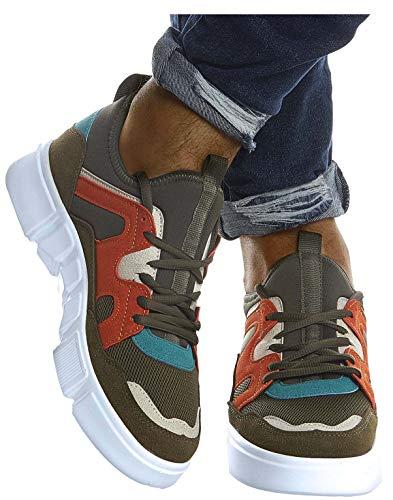 Leif Nelson Herren Schuhe für Freizeit Sport Freizeitschuhe Männer weiße Sneaker Sommer Coole Sommerschuhe Sportschuhe Weiße Schuhe für Jungen Winterschuhe Halbschuhe LN203;40, Khaki-Orange