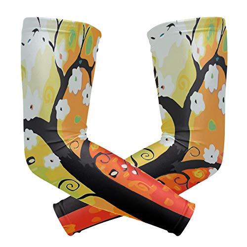 BJAMAJ Abstract Geld Boom Schilderijen Kleurplaten UV Bescherming Koeling Arm Mouwen Arm Cover Zonbescherming voor Mannen & Vrouwen Jeugd Prestaties Stretch & Vocht Wicking