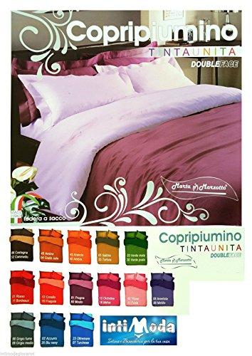 Copripiumino Federe Matrimoniale Tinta Unita Double Face Marta Marzotto made in italy (Grigio Fumo/Grigio Medio)