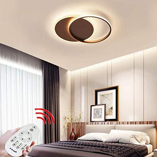 Lámpara de techo de dormitorio redonda regulable ultrafina Anillo de metal Luces de techo de sala de estar simples con control remoto Luz de techo acrílica LED Creativa-marrón