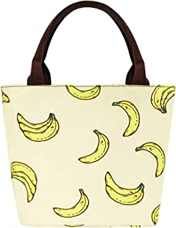 Banana Lunch Bags for Women Reusable Lunch Thermal Tote Bags for Work/Office/Beach/Picnic Canvas