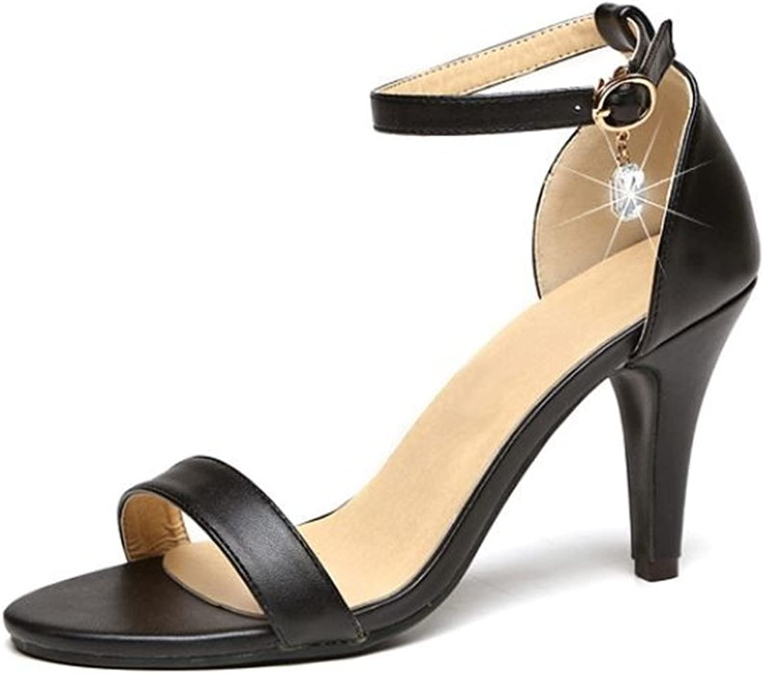 Women's Pointed Stiletto Heels with Metal Buckles and Skirts