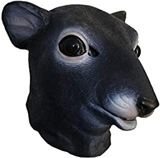 Realistic Mouse Animal Head Latex Mask Halloween Costume Rattus Rat Headwear Party Adult Giant Mouse Black