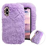 Cistor Plush Cover for Samsung Galaxy A70,Luxury Handmade Fur Faux Furry Fluffy Soft Warm Winter Back Cover Shockproof TPU Protective Case with Bling Diamond Bowknot for Samsung Galaxy A70,Purple