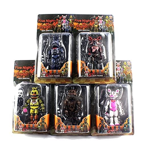 5 Piezas Five Nights At Freddy'S Toys FNAF Figuras De Acción De Muñecas con Luces, Se Pueden Unir En 6 Piezas De Juguetes con Articulaciones Móviles, 5.5 Pulgadas, Multicolor