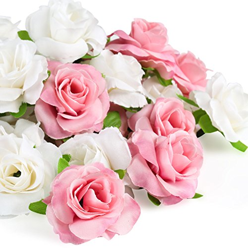 Kesote 50 Piezas de Cabezas de Rosas Artificiales de Seda Rosa Artificiales en Seda para Manualidades Decoración para Boda, Fiesta, Hogar, 25 Blanco + 25 Rosa, 4 CM