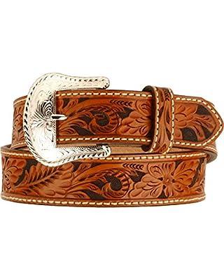 Justin Tony Lama Men's Floral Tooled Leather Belt Reg and Big Tan 36