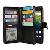 NEXTKIN Case Compatible with Huawei Google Nexus 6P, Leather Dual Wallet Folio TPU Cover, 2 Large Pockets Double Flap, Multi Card Slots Snap Button Strap for Google Nexus 6P - Black