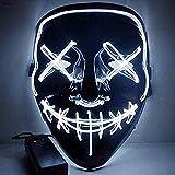 Maske Halloween EL Glimmmaske schwarz unten Kaltlichtmaske KTV Tanzparty Party LED weiß 21X17CM
