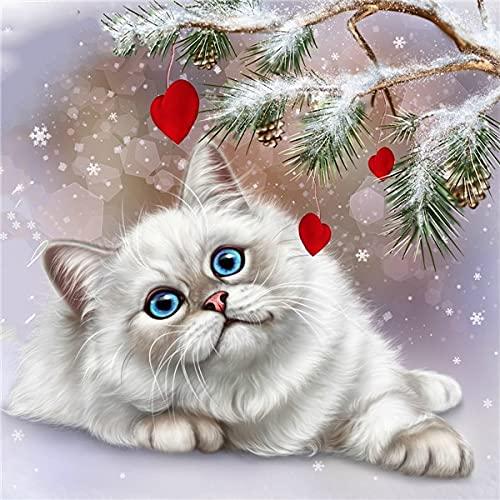 Kits de gato de pintura de diamante 5d mosaico de diamantes gorra de Navidad completa imágenes de diamantes de imitación regalo hecho a mano A12 50x65cm