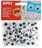 APLI 13264 - Ojos Móviles Adhesivos, Ovalados, Blanco/ Negro