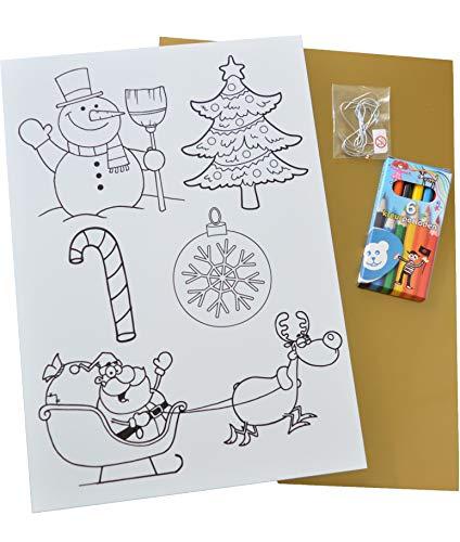 Krimpfolie/Craft Kit SHRINK FILM met 6 CHRISTMAS MOTIVES met Accessoires: 1 A4-vel krimpplastic met 6 kerstmotieven, 1 A4-vellen krimpen plastic goud, 6 kleurpotloden, 10 kerstversiering hangers. Maak je eigen kerstboomdecoraties. Kinderfeestje. Ambachten met krimpfolie. Om meteen te beginnen. Alles thuis.